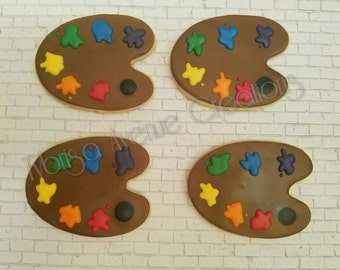 12 Paint Palette Sugar Cookies - Painting Party Sugar Cookies - Painting Party Favors - Paint Pallet Sugar Cookies - Painting Birthday Party