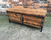 Reclaimed Industrial Chic Sideboard Dresser Wood  Copper sides. Bar cafe Resturant Tables Steel and Wood Metal Hand Made tableoffice 197
