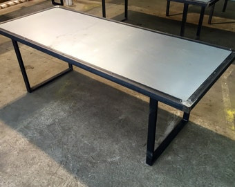 Reclaimed Industrial Chic 6 8 Seater Steel Top And Metal Dining Table Bar  And Cafe