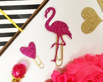 Flamingo Paper Clip, Heart, Planner Clips, Glitter, Gold, Planner Goodies- Set of 2 Clips