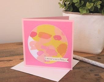 Congratulations handmade card  pink card / female card / congrats / greeting card /