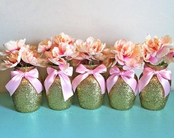 5 Gold & Pink Vases, Baby shower Decorations, Baby shower centerpiece, birthday, Wedding Decorations, first birthday, centerpieces, wedding
