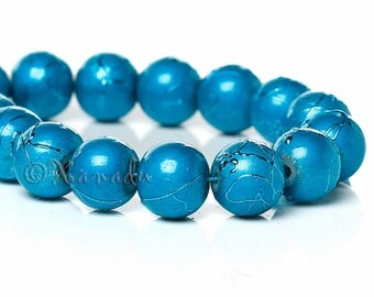 Turquoise Glass Beads 8mm - 50/100/200 Wholesale Drawbench Beads For Jewelry Making G6696