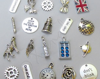 Doctor Who Charms 20PCs Mix - 20/40/60 Tardis, Time Lord, Sonic Screwdriver, Dalek, Watch, Union Jack Flag Findings CM2013