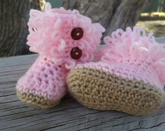 Crochet Baby Booties, Loop Booties, Fringe Booties, Baby Shoes
