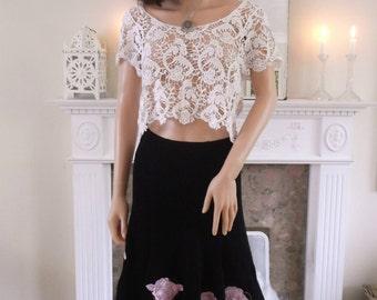 Vintage 80s  skirt Laura Ashley skirt Black maxi skirt Pink rose embroidery 80s Laura Ashley black skirt Boho Party Evening Embroidered