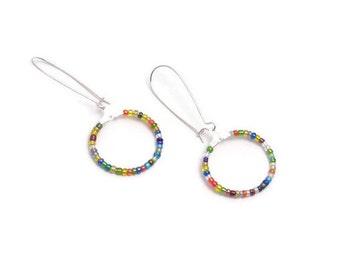 multi color hoop earrings, multi color bead earrings, drop earring, dangle earring, circle earring, multi color earrings, seed bead earrings