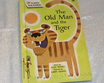 """Vintage Children's Book - Alvin Tresselet """"The Old Man and the Tiger"""" 1965"""