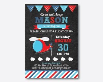 Helicopter Birthday Invitation, Helicopter Invitation, Helicopter Party Invitation, Boy Invitation, Personalized, Chalkboard (CKB.94)