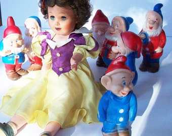 Vintage Snow White / 1950's Original Toy / 7 Dwarves / Found Together / Vintage Disney