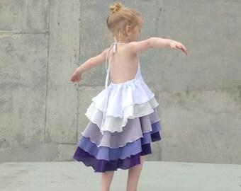 Girls Flamenco Party Dress in Lavender Ombré
