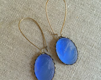 Pretty Blue Glass Cameo Dangle Earrings