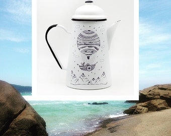 enamelled metal teapot