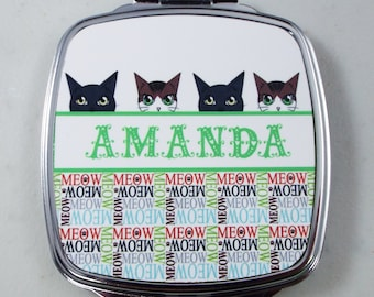 Personalized Cat Lover Mirror, Cat Faces Compact Mirror