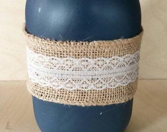 Navy blue burlap and lace jar