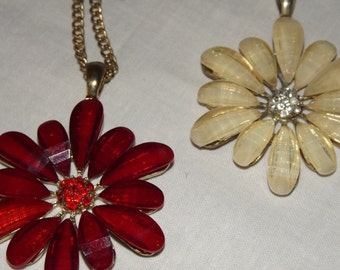 Pair of Flower Necklaces Yellow Metal Chain Red & Cream Flowers Rhinestone Centres