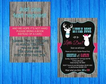 Baby Front and Back shower Invitation Gender Reveal Doe or Buck