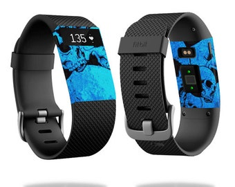 Skin Decal Wrap for Fitbit Blaze, Charge, Charge HR, Surge Watch cover sticker Blue Skulls