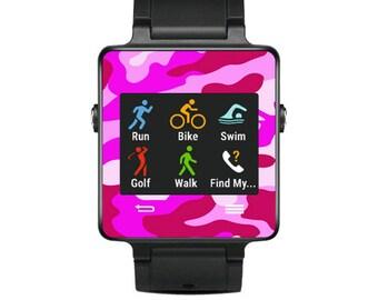 Skin Decal Wrap for Garmin Vivoactive Forerunner, Vivoactive Forerunner Hr Watch cover sticker Pink Camo