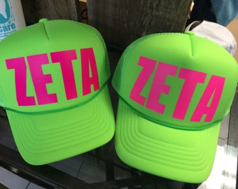 Custom Zeta Tau Alpha Trucker Flat Bill Hats! You choose colors!