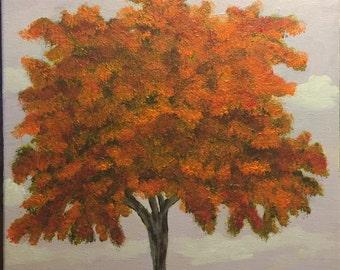 "Original 11"" X 14"" acrylic tree painting on stretched canvas. ""Aida"""