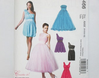 McCall's 6466 ~ Create Your Own, Mix and Match Lined Formal Evening Party Dresses with Boned Bodice SIZE 4-10 UNCUT Sewing Pattern