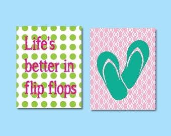 ON SALE Lifes Better in Flip Flops Art, Kids Art Print, 576