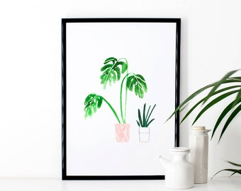 Illustrated Pot Plant Art Print