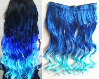 Sapphire blue to sky blue two Colors Ombre hair extension, Synthetic Hair extensions UF309