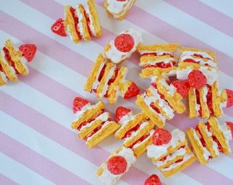 27mm Strawberry Short Cake Sweet Kawaii Flatback Resin Decoden Cabochon - 10 piece set