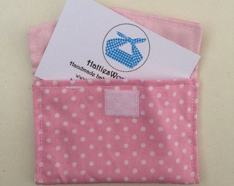 Business Credit Debit Gift Card Holder Pocket Pouch Pink Polka Dot Fully Lined Fabric Envelope