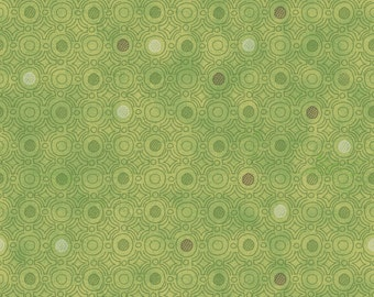 Coffee House Fabric by Sue Zipkin, Light Olive Small Dot, Green Cotton Quilt Fabric, Clothworks Fabric, By the Yard