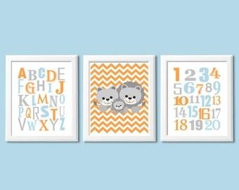 Orange, blue and grey baby boy wall art print - UNFRAMED - nursery wall art, alphabet and numbers, abc, 123, lion family, orange, light blue