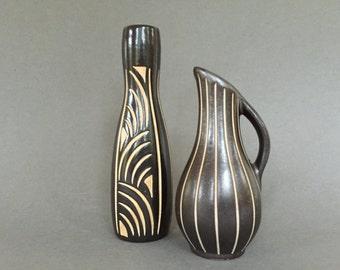 2 Piesche & Reif Keramik, sgraffito technique Mid Century  vases, Veb Lausitzer East German Pottery.