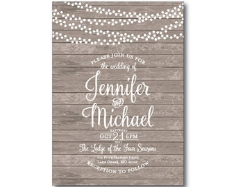 Rustic Wedding Invitation, Country Chic, Hanging Lights, Fall Wedding, Rustic Wedding, Wedding Invitation- Printed Wedding Invitation #CL179