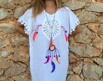 Mexican dreamcatcher bohemian knee lenght cotton kaftan with hand embroidery