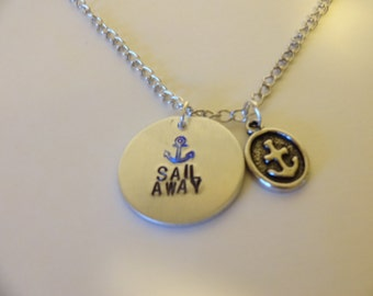 Nautical Sail Away Pendant Charm Necklace with Anchor Jewelry