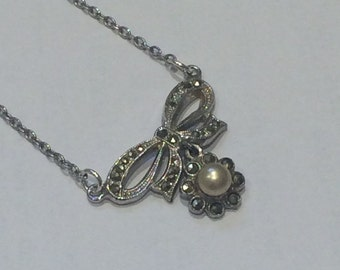 Marcesite and Pearl Bow Necklace // Mid-Century, 1950's Necklace // Spring Clasp