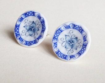 Porcelain Sterling Silver studs
