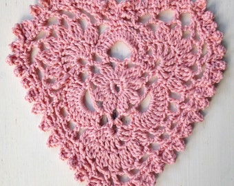 Pretty Cotton Heart Doily