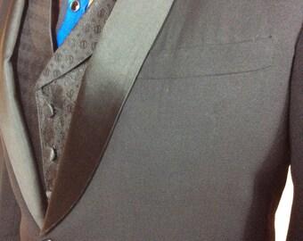 Black Tuxedo jacket Satin collar 1960's special event wedding or costume