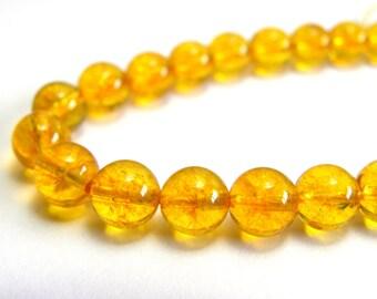 Round Citrine Real Gemstone Beads - 8mm