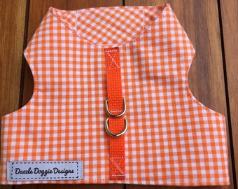 Orange gingham dog harness, jacket harness, checkered harness, Velcro closures, puppy harness, handmade harness, Halloween harness, fabric