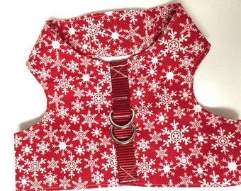 Dog harness, snowflake harness, jacket harness, Velcro harness, Christmas harness, winter harness, puppy harness, holiday harness, handmade