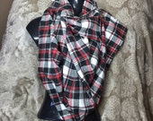 Red, Black and White Lumberjack Plaid Blanket Scarf With Heavy Duty Snap Button.  Shawl, Blanket, Kimono