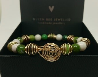Genuine White & Green Banded Agate Wire Work Bracelet