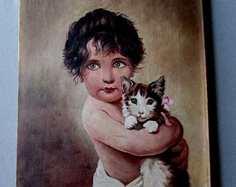 ANTIQUE 19th Century Oil Painting on Canvas  CHILD with KITTEN crca 1890