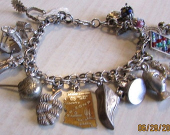 Sterling Silver Southwest Theme Charm Bracelet