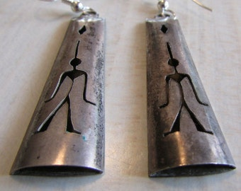 Vintage Sterling Silver Shadow Box Dangle Wire Earrings