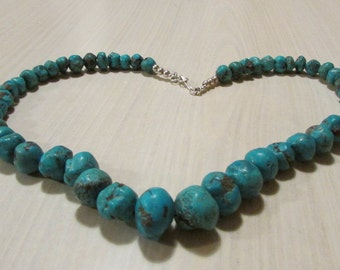 "Turquoise Rough Bead Necklace.  19 1/4"" Long"